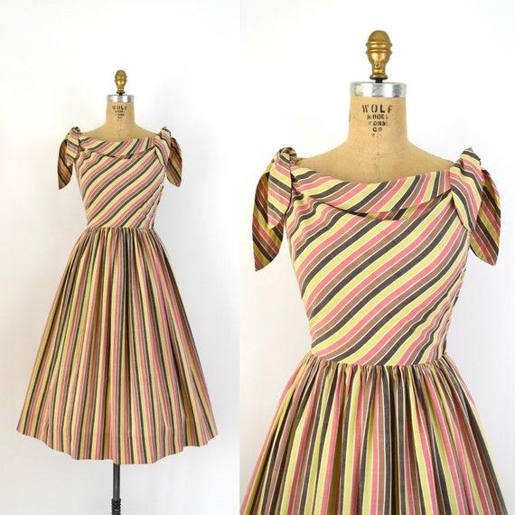 Vintage 1950s Dress - 50s Colorful Stripe Cotton S