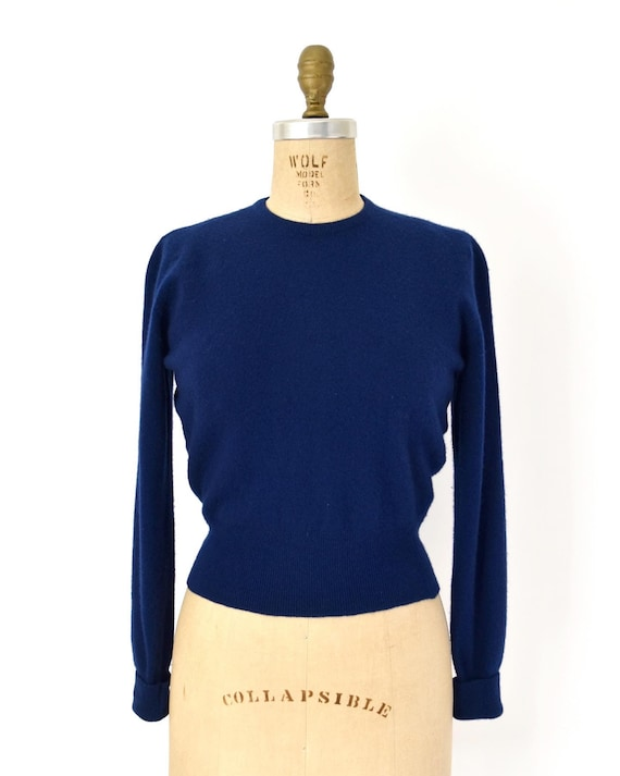 Vintage 1950s Sweater - 50s Blue Cashmere Knit Swe
