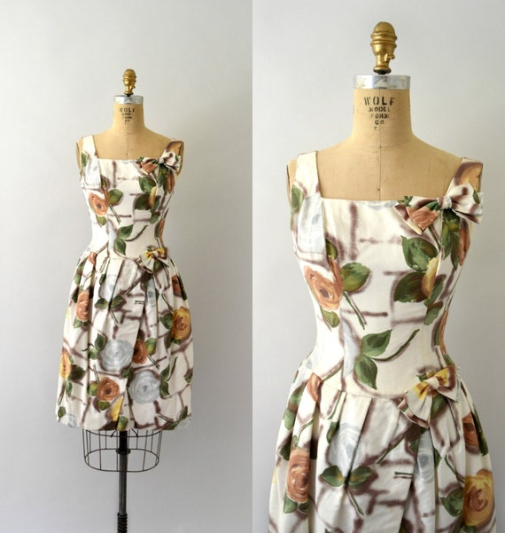 1950s Vintage Dress - 50s Rose Print Cotton Dress