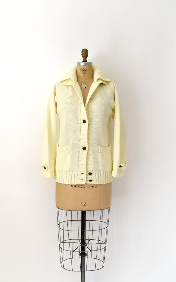 1970s Vintage Sweater Jacket - 70s Ivory Knit Acry
