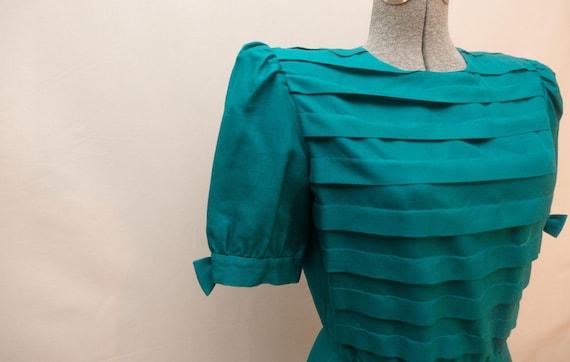 Bowtie Teal Silk Dress : Vintage 80s Nipon Boutiqu