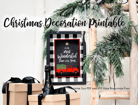 Vintage Red Truck Christmas Printable Home Decor Instant Download Printable Pdf Christmas Holiday Party Printable By Todi Catch My Party