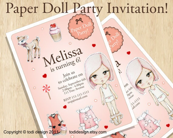 birthday party invitations paper doll party printable digital