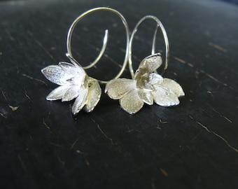 ON SALE -- Purslane Flower Hoops -- Botanical Jewelry