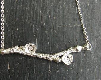 Blueberry Branch and Buds Necklace -- Nature Cast Botanical Jewelry -- Silver Branch Necklace -- Ready to Ship