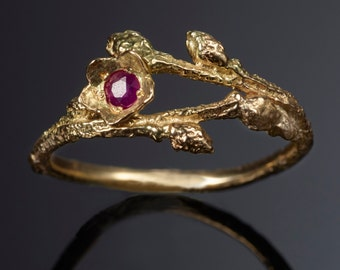 14K Solid Gold Wild Blueberry Branch & Bud Ring with Blue Sapphire for Kasey -- Nature Cast Botanical Jewelry -- Twig Engagement Ring