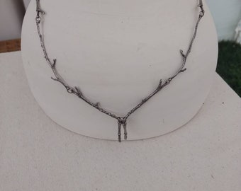 Sterling Silver All Branch Drop Necklace