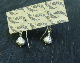 Willow Acorn Earrings with French Wires -- Nature Cast Botanical Jewelry -- Light weight -- Ready to Ship