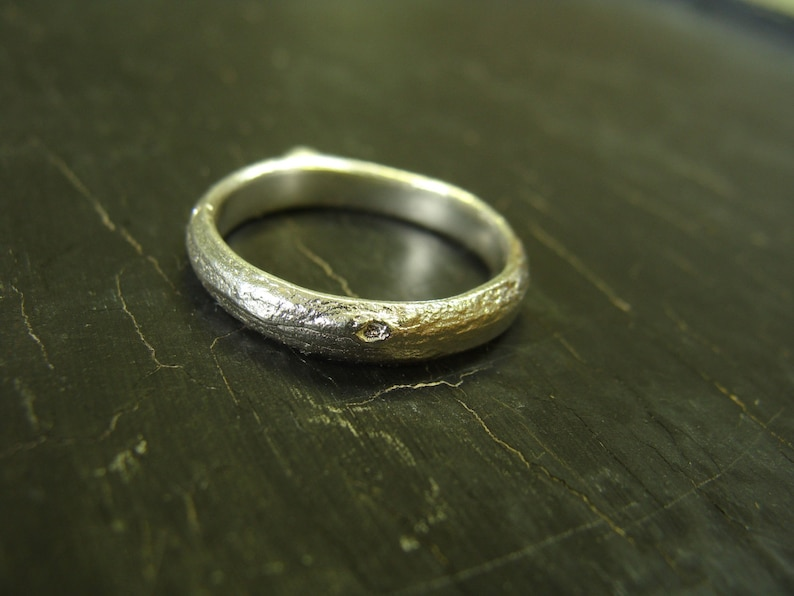Oak Branch Band  Sterling Silver Nature Cast Ring  image 0