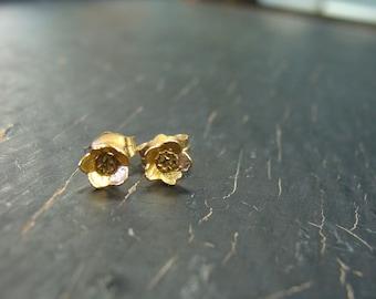 18K Vermeil Blueberry Bud Post Earrings -- Nature Cast Botanical Jewelry