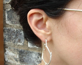 Large Blueberry Branches Hoops -- Nature Cast Circle Posts -- Botanical Earrings, Ready to Ship