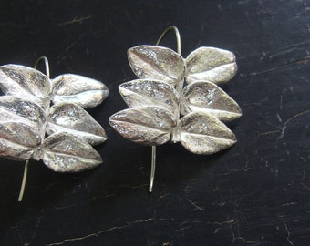 Jacob's Ladder Leaf Hoops -- Botanical Leaves Jewelry, Plant Cast Nature Jewelry, Ready to Ship