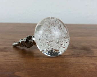 Clear Glass Bubble Drawer Knob - Clear Glass Drawer Knob with Bubbles, Furniture Knob, Clear Glass Knob With Chrome Base