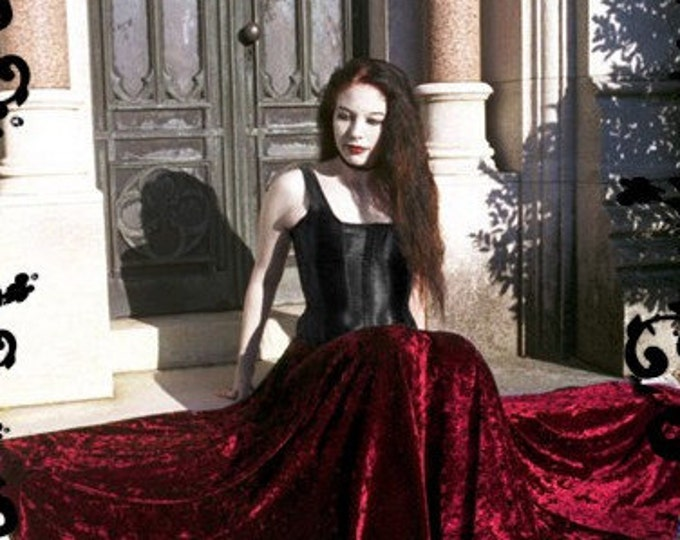 Liseron Long Crushed Velvet Romantic Gothic Fairy Skirt - Bespoke Handmade Elegant Gothic Dark Romantic Skirt