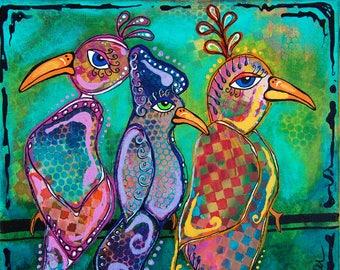 "Original 12""x12"" Bakers' Dozens Acrylic Painting Three Birds Whimsical Folk Art"