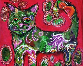 "Original 12""x12"" Bakers' Dozens Acrylic Painting Floral Cat Kitty Whimsical Folk Art"