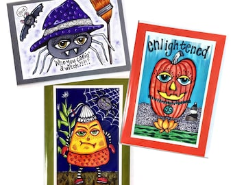Set of 3 Halloween Zen Pumpkin, Spider Witch, Disgruntled Candy Corn Greeting Cards Made From Prints Of Original Art Drawings