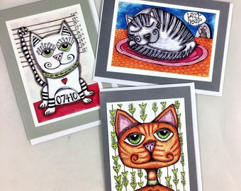 Set of 3 Kitty Cat Themed Greeting Cards Made From Prints Of Original Art Drawings Set 1