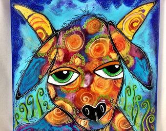 "Original 12""x12"" Bakers' Dozens Acrylic Painting Floral Happy Goat Whimsical Folk Art"