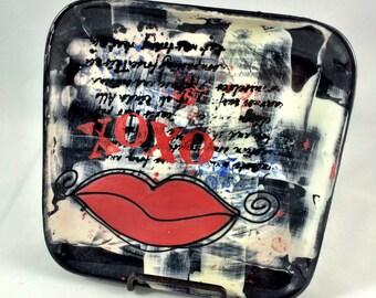 XOXO Lips Handpainted Ceramic Plate