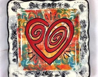Stylized Heart Symbol Handpainted Ceramic Zen Plate