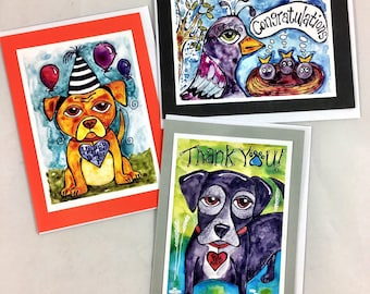 Set of 3 Thank You, Congratulations, Happy Birthday Greeting Cards Made From Prints Of Original Art Drawings