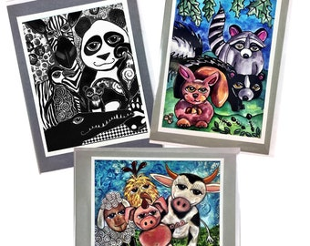 Set of 3 Whimsical Farm Forest Black and White Animals Greeting Cards Made With Prints Of My Original Art Drawings