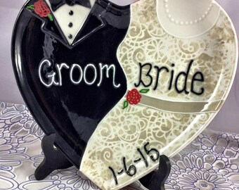 """Custom Handpainted 11.25"""" x 10.5"""" Heart Shaped Wedding or Anniversary Plate - Choose Names, Colors and Date"""