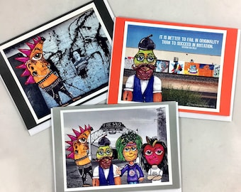 Set of 3 Fruits With Attitude Greeting Cards Made From Prints Of Original Art Drawings- Punk Rock Banana, Hipster Pear, Hippie Emo