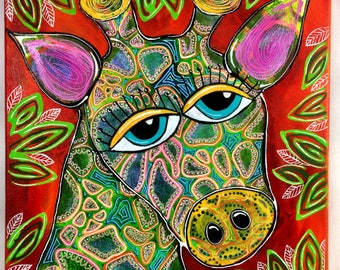 "Original 12""x12"" Bakers' Dozens Acrylic Painting Giraffe Whimsical Folk Art"