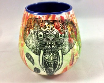 Handpainted Zen Elephant Wine Tumbler, Incense Burner, Candle Holder or Vase