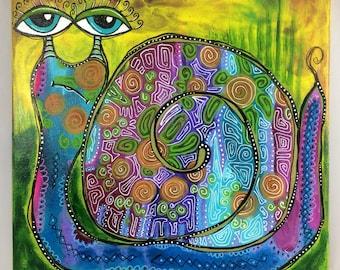 "Original 12""x12"" Bakers' Dozens Acrylic Painting Floral Happy Snail Whimsical Folk Art"