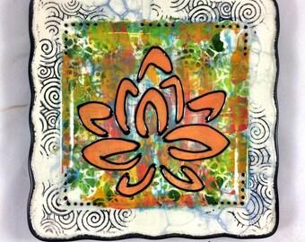 Buddhist Stylized Lotus Symbol Handpainted Ceramic Zen Plate