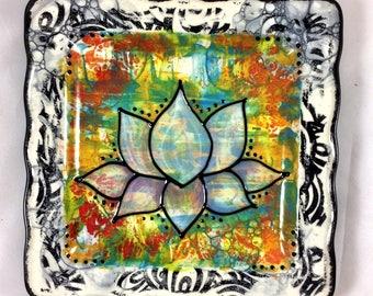 Buddhist Lotus Symbol Handpainted Ceramic Zen Plate