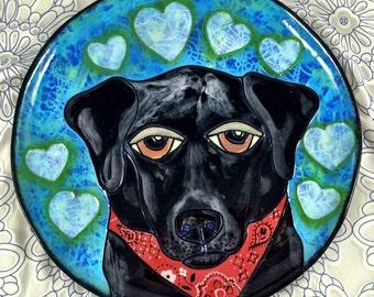 """Custom Handpainted 12"""" Round Ceramic Plate Featuring YOUR Pet!"""