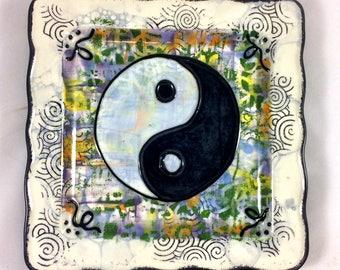 Yin Yang Sign Symbol Handpainted Ceramic Zen Plate