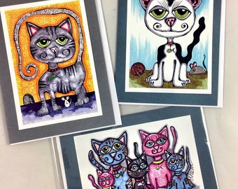 Set of 3 Kitty Cat Themed Greeting Cards Made From Prints Of Original Art Drawings Set 2