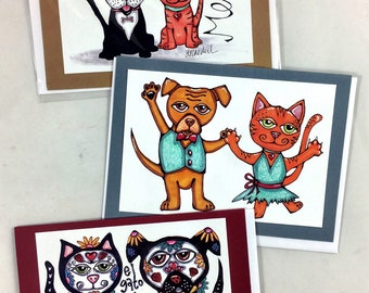 Set of 3 Cat and Dog Greeting Cards Day of the Dead, Meow and Woof, Dancing Pets Made From Prints Of Original Art Drawings