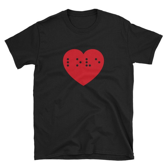 Vintage Braille T Shirt ML white soft paper thin tee I Heart Love screen stars red puff paint speak blind visually impaired Single Stitch