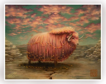 The Great Ox - 11 x 14 - Limited Edition signed numbered  Pop Surrealism Fine Art Print - by Mab Graves