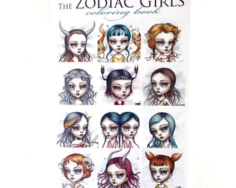 Last ONE Zodiac Girls Coloring Book - Tattoo Line design book surrealism lowbrow art book by Mab Graves - Zodiac astrology sign book