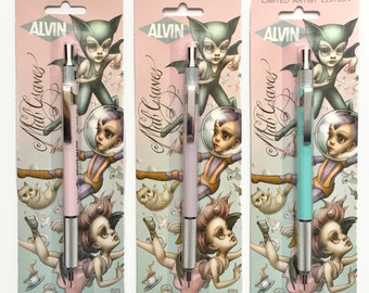 Last ONE Mab Graves limited edition Alvin Draft Matic mechanical pencil set - in .03 .05 and .07 sizes with FREE Yupo paper pad