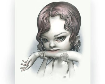 Tallulah Print - Just One Bite Vampire Girl - Open Edition signed 8x10 Pop Surrealism Fine Art Print - by Mab Graves