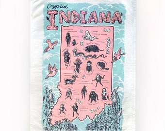 Cryptid Indiana souvenir Towel- screen printed- 100% cotton- towel- by Mab Graves