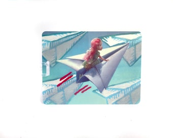 Little Traveler vinyl luggage tag - by Mab Graves
