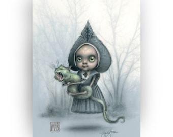 The Flatwoods Monster - Mab's Drawlloween Club 5 x 7 Mini Art Print by Mab Graves