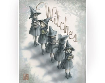 The Witches - 8x10 Pop Surrealism Fine Art Print -Signed- open edition- by Mab Graves