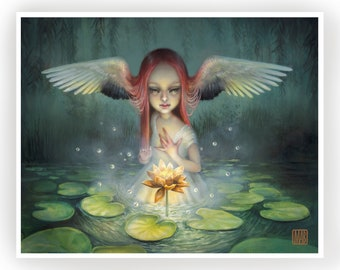 The Lotus- Limited Edition signed 8x10 pop surrealism Fine Art Print by Mab Graves