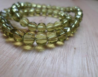 Olive Faceted Glass Round Beads 6mm 12 in Strand