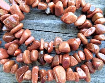 Brown Goldstone Chip Beads 16 Inch Strand 5-12 mm